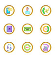 online support icons set cartoon style vector image vector image