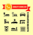 parking icon set with red tape accent vector image vector image