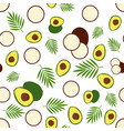 pattern with avocado and coconut vector image vector image