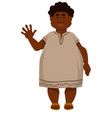 plump african man in long shirt and sandals with vector image vector image