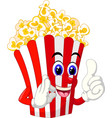 popcorn in red white paper cup box cartoon vector image vector image