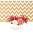 rose and lily wedding invittion card vector image vector image