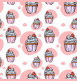 seamless pattern with cupcake with red heart vector image vector image