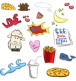 set of cute stickers sheep heart boom fries vector image vector image