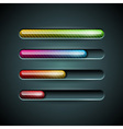 shiny progress indicator set on a dark background vector image vector image