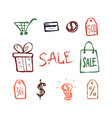 shopping icons hand drawn doodle set color outline vector image vector image