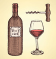 Sketch wine set in vintage style vector image vector image