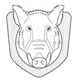Stuffed taxidermy wild boar head Line-art vector image vector image