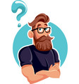 thinking hipster bearded man with question mark vector image vector image