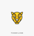 tiger line art template vector image vector image