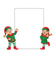 two elfs using santa clause clown costume vector image vector image