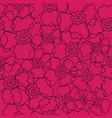 vibrant pink floral line art pattern vector image vector image