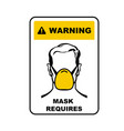 warning sign - face mask required wear medical vector image