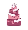 wedding cake with decoration flowers vector image vector image