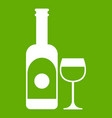wine and glass icon green vector image vector image
