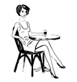 woman sitting in cafe vector image