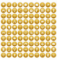 100 network icons set gold vector image vector image