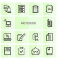 14 notebook icons vector image vector image
