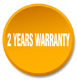 2 years warranty orange round flat isolated push vector image vector image