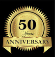 50 years anniversary gold seal logo design vector image