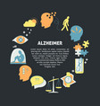alzheimer s symptoms round concept in flat style vector image vector image