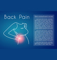 back pain background with woman vector image