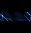 blue and orange technology banner with glowing vector image vector image