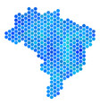 blue hexagon brazil map vector image
