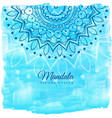 blue watercolor background with mandala art vector image