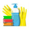 bottle of detergent sponge and rubber gloves vector image