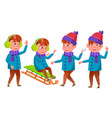 boy set happy childhood winter holidays vector image vector image
