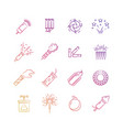 bright holiday pyrotechnic line icons vector image