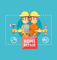 builders characters with home repair icons vector image vector image