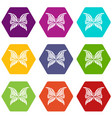 butterfly with scalloped wings icons set 9 vector image vector image