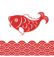 carp fish and wave for chinese new year vector image vector image