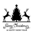 Christmas card with deer fir and greeting text