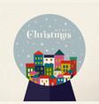 christmas vintage card of retro holiday snow globe vector image