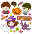 collection cartoon halloween kawaii stickers vector image vector image
