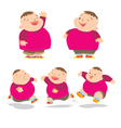 cute fat boy charater many action vector image vector image