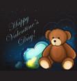 cute teddy bear and hearts vector image vector image