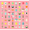 Easter flat style icons vector image