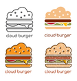 emblems set with concept of cloud burger vector image vector image