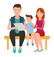 family mother father and son sits on bench list vector image vector image
