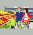 family shopping grocery wearing mask during vector image