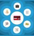 flat icon gain set of money box diagram payment vector image