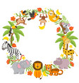 frame with jungle animals vector image vector image