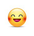 Fun yellow cartoon emoji face with smile and open