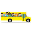 group of school children in a school bus vector image