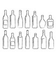hand drawn black alcohol bottle set icons vector image