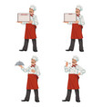 happy chef presenting vector image vector image